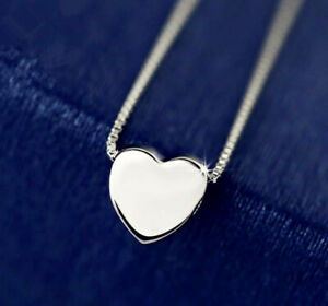 Heart Charm Pendant 925 Sterling Silver Plated Necklace Womens Jewellery Gift UK