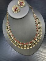 Vintage 1950S Gold Signed LISNER Necklace Earring Set Red AB RHINESTONE  NIB WOW