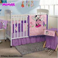 Baby Girl Purple & Pink Disney Minnie Mouse 8 Piece Crib Bedding Set