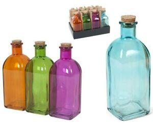Set Of 12 Large Square Glass Bottles & Cork Assorted Colours Liquor Bottle 530ml