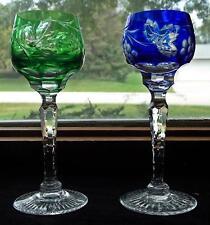Pair Bohemian Blue cut to clear & Green Cut to Clear Cordials liquors