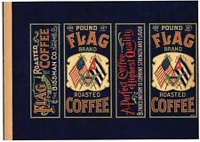 AUTHENTIC TIN CAN LABEL VINTAGE COFFEE 1900 FLAG CUBA EAGLE SPANISH AMERICAN WAR