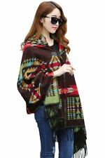 New American Indian Navajo design Hooded shawl poncho Brown