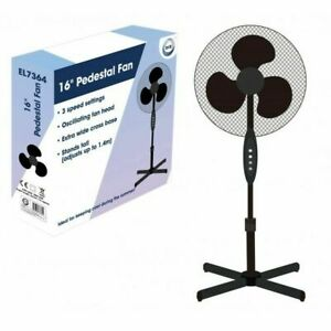 """16"""" Cooling Fan Head Extendable Free Standing Tower Wide Base slow to Fast UK"""
