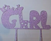 Cake Topper Baby Shower It's a Girl PINK GLITTER FREE UK P&P