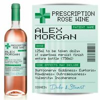 PERSONALISED Prescription Rose Wine label, fun spoof Birthday gift
