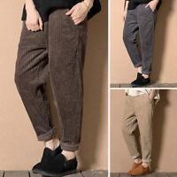 Womens Winter Warm Loose Harem Corduroy Pants Elastic Long Trousers Plus Size_vi