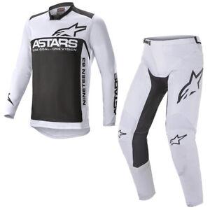 Alpinestars 2021 Adult Racer Supermatic Light Grey Black MX Gear Kit Combo