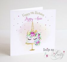 Girls Personalised UNICORN CAKE Birthday Card - Daughter Granddaughter Niece