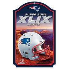 New England Patriots 2015 Super Bowl XLIX  WinCraft Navy Wood Sign