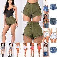 Women Sexy High Waist Denim Shorts Ripped Tassel Jeans Mini Shorts Pants S-2XL
