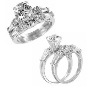 Sterling Silber Runde & Baguetteschliff Cz Steine Ring W / 7 MM (1.25 Karat)