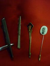 4 VINTAGE STICK PINS, TIE CLIP/PIN/BROOCH - SCRIM SHAW & ENAMEL & DIAMANTE +