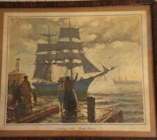 Vintage Framed Print Gordon Grant Sailing Ship Nautical Making Port Maritime