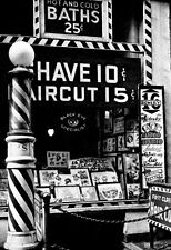 Barbershop & Tattoo Parlor Poster, the Bowery, NYC 1930's, Haircut, Shave, Bath