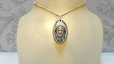 Pendant SOLID Indian CHIEF Biker Men's Turquoise Headdress Tribe HEAVY $450