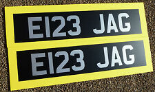 Classic Vintage style Silver/white on Satin black Number Plate Stickers Decals