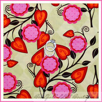BonEful Fabric FQ Cotton Quilt Green VTG FLOWER Garden Cottage Red Pink Leaf Dot