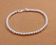 925 Sterling Silver Layered HOLLOW BALL THIN BEAD BRACELET 4MM ROUND BEADS