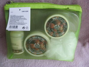 The Body Shop Shea Butter Shower Scrub Set 4 Pieces New Sealed Washbag With Tags