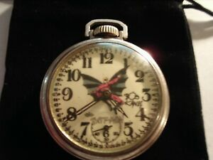 1930s Westclox 16s Pocket Watch The Bat-Man Theme Dial & Case Runs Well.