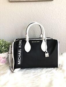 NWT Michael Kors Connie Large Duffle Nylon Bag Black/ Optic White