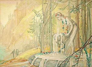 PIXIE O'HARRIS (1903-1991) Original RARE watercolour Nymph 1930 Ida Outhwaite