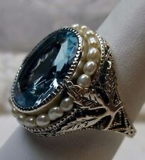 Sim Aquamarine & Pearl Sterling Silver Victorian Filigree Ring {Made To Order}