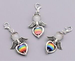 10 Regenbogen Schutzengel Hochzeit Gastgeschenk Taufe Anhänger Rainbow Auswahl