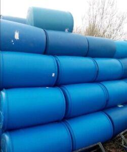 205 Litre BLUE diesel Plastic Water Barrel Drum Butt 45 Gallon Raft In DURHAM
