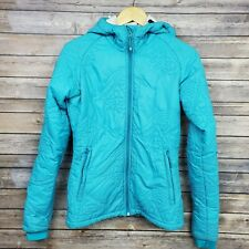 Stoic Pertex Microlight Womens Blue Quilted Hooded Zip Jacket Size Medium