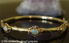 14k Yellow Gold Victorian Antique Welo Crystal Opal Rope Bangle Bracelet