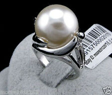 Fashion charming huge 14mm round south sea white shell pearl ring 8#