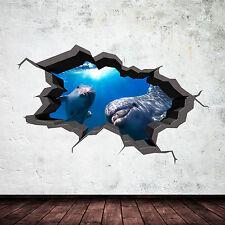 Couleur Complète 3D Aquarium Dauphin sous L'Eau Fissuré 3D