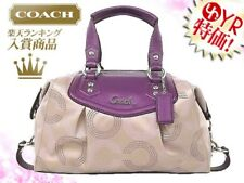 Coach 20027 Ashley Dotted OP Art Signature Sateen Satchel ~Berry~
