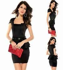 Sz 10 12 Black Cap Sleeve Peplum Sexy Formal Party Cocktail Club Slim Mini Dress