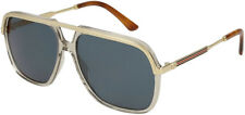 Gucci Men's Gold Clear Modern Pilot Sunglasses GG0200S 004 - Made In Japan