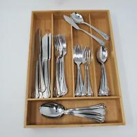 32 pc Gibson CHARLOTTE Stainless Flatware Knives Forks Teaspoons Spoons Serving