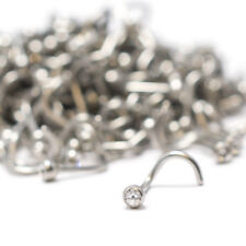 Nose Ring Wholesale Lot 50 Pieces Surgical Steel Clear CZ Gem Screw Stud 18G 6mm