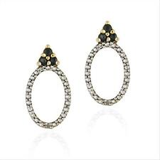 18K Gold over 925 Silver Sapphire & Diamond Accent Open Oval Drop Earrings