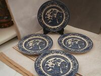 FOUR BLUE AND WHITE WILLOW PATTERN SIDE PLATES    ENGLISH MADE BY EIT