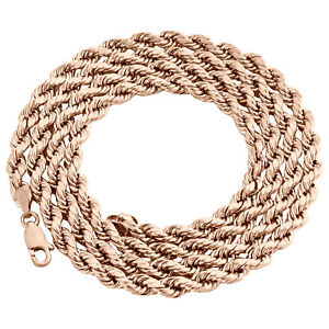 10K Rose Gold Diamond Cut Hollow Rope Chain 4mm Wide Necklace 16 - 24 Inches