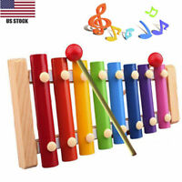 Classic Wooden Xylophone Toy Musical Instrument 8-Note Baby Kids Child Developme