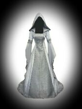 New Silver Gothic Medieval Hooded Velvet Corset Gown Dress size 3XL 18 20 22