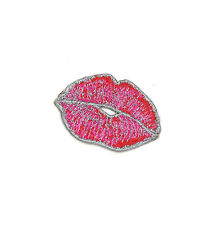 "2.25"" Kiss Kiss Patch Lipstick Smudge Makeup Sexy Cute Lips Pinup Burlesque Punk"