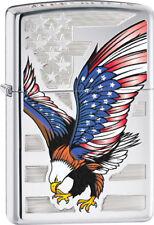 Zippo 28449 American Lighter Eagle Flag High Polish Chrome
