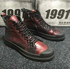 Fashion Mens Lace Up high top Ankle Boots Wine Red Zip Casual Combat New Shoes