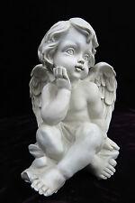 Engel Figur Skulptur sitzend antik-weiß wach Engelsfigur elfenbein-farben