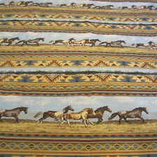 "Horse Tapestry Fabric 60"" x 54"" Heavyweight Woven Southwest Design"