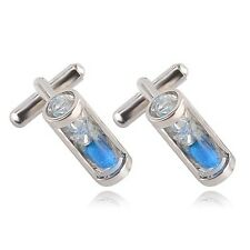 Silver Blue Hourglass Sand Timer Mens Cufflinks Cuff Links Business Formal Prom